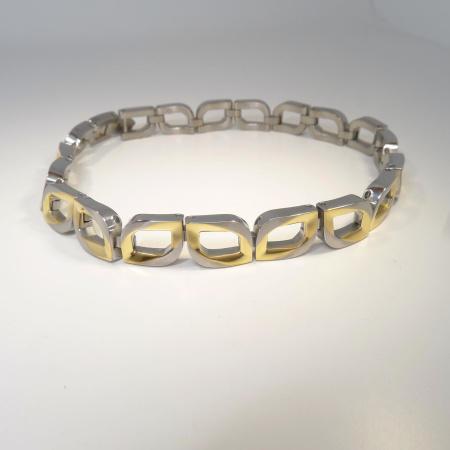 Boccia Armband bicolor Raute Titan teil-goldplattiert 03010-02