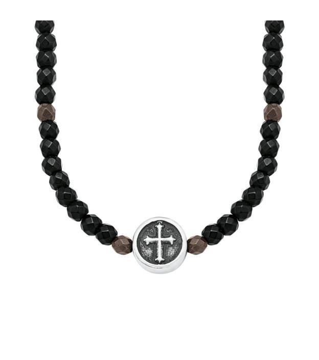 s.Oliver Herren-Halskette 2018707 Hämatit und Stahl IP schwarz 50 + 5 cm