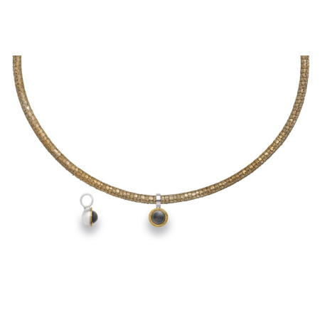 bastian inverun Anhänger 925 Silber teilvergoldet matt mit grauem Mondstein 2,02 ct