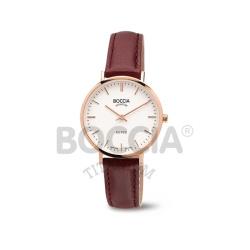 Boccia Damenuhr Royce 3246-02 rosé mit Lederband bordeaux und Saphirglas