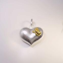 Anhänger Herz mit Frosch und Krone Silber 925...