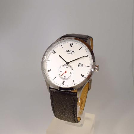 Boccia Titanium Herrenuhr 3606-01 mit kleiner dezentraler Sekunde und Lederband