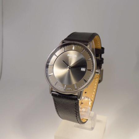 Boccia Titanium Herrenuhr 3607-01 Saphirglas und Lederband schwarz 5 bar