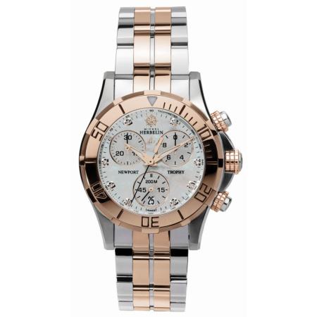 Michel Herbelin Newport Damen Chrono bicolor rosé-stahl 34591-TR89B mit Diamanten Metallband und Faltschließe