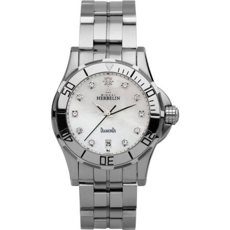 Michel Herbelin Newport Trophy Damenuhr 12591-89B mit Diamanten Metallband und Faltschließe