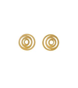 Tezer Ohrstecker Kreise 925 Sterling-Silber vergoldet