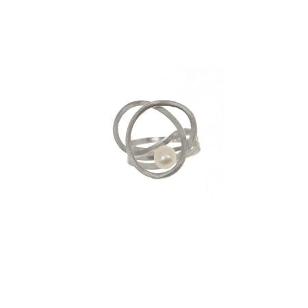 Tezer Ring geflochten Silber 925 mit SW-Zuchtperle Weite 55