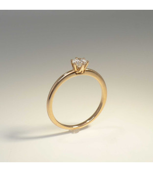 Solitär Ring 585 Rotgold 6 Krappen mit Brillant 0,30ct TW-si Gr. 54