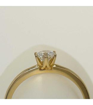 Solitär Ring 750 Gelbgold 6 Krappen mit Brillant 0,35 ct TW-si Gr. 54