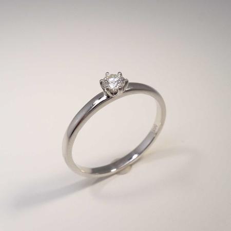 Solitär Ring 585 Weißgold 6 Krappen mit Brillant 0,15ct TW-si Gr. 54