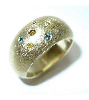 Ring 585 Gelbgold mit bunten Diamanten - Weite 58...