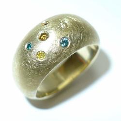 Ring 585 Gelbgold mit bunten Diamanten