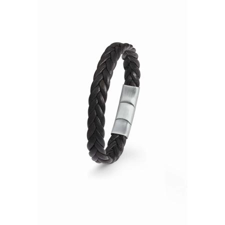 s.Oliver Armband 2022644 aus geflochtenem Leder in Schwarz 20 + 1,5 cm