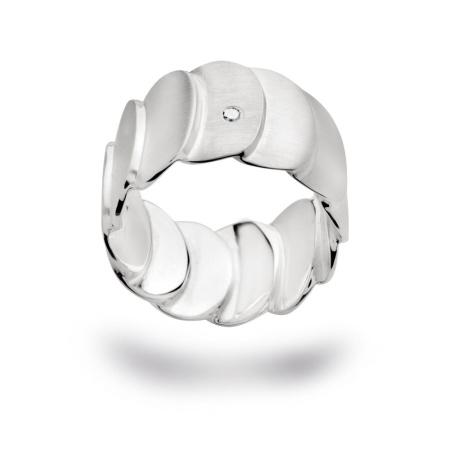 bastian inverun Ring 12589 mit Diamant 0,03 ct Silber matt gebürstet