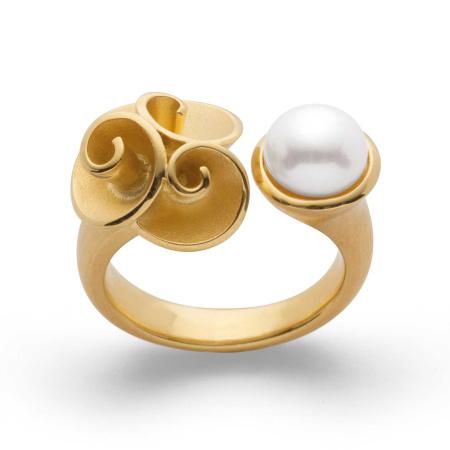 bastian inverun Ring 25050 Silber vergoldet mit Perle - Weite 56