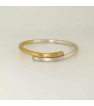 Armreif 925 Silber und 750 Gold mit Brillant 0,02 ct w-vs