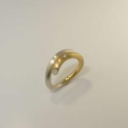 Siegfried Becker Ring 925/-Silber & 750/-Gold mit...
