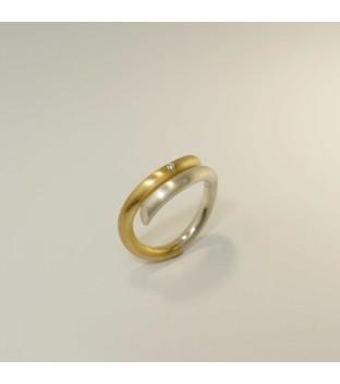 Siegfried Becker Ring 925/-Silber & 750/-Gold mit Brillant 0,01 ct w-vs 3 mm