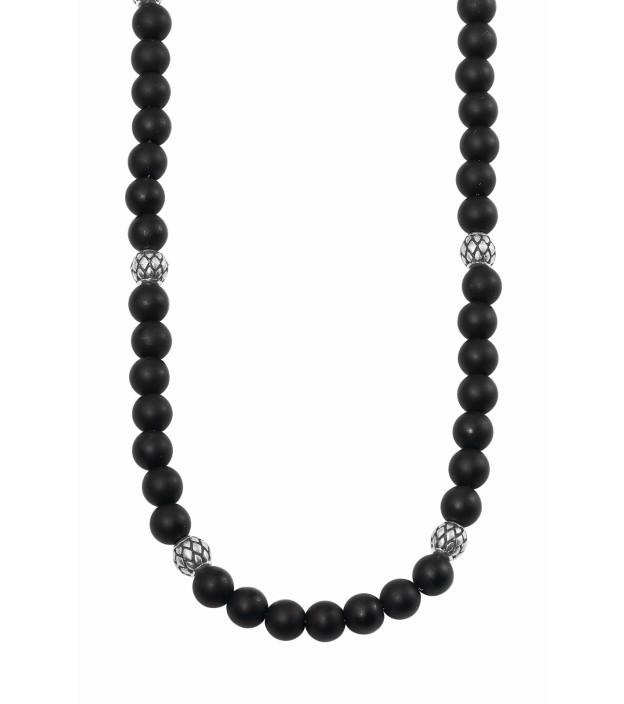 s.Oliver Herren-Halskette 2022626  mit Onyx-Kugeln Länge 47 + 3cm