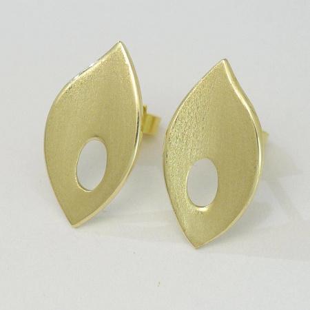 Ohrringe / Ohrstecker aus 585 Gelbgold in Blattform
