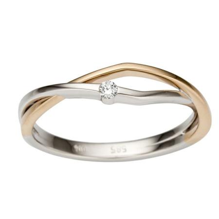 Ring Brillant 585 bicolor Weißgold Rotgold 0,04 ct W-si