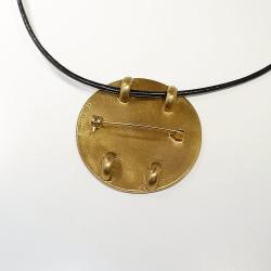 Himmelsscheibe von Nebra - Anhänger mit Broschierung aus Bronze mit Teilvergoldung 40 mm