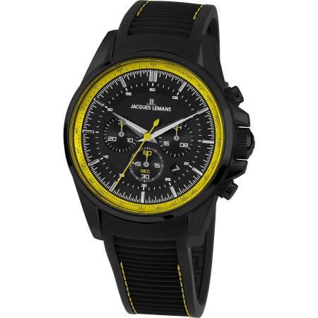 Jacques Lemans Liverpool 1-1799S Chronograph schwarz gelb Silikonband
