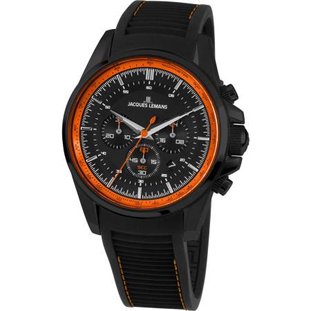 Jacques Lemans Liverpool 1-1799U Chronograph schwarz orange Silikonband