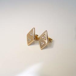 Ohrstecker 12Brill. á 0,01ct 585 Rosé-Gold Handarbeit