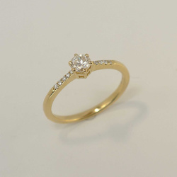 Verlobungsring 585 Gelbgold mit 6er Krappenfassung und...