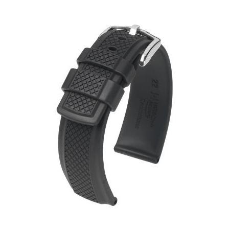 Hirsch Accent Kautschuk-Uhrenarmband schwarz 24 mm