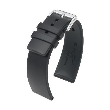 Hirsch Pure Kautschuk-Uhrenarmband schwarz 24 mm