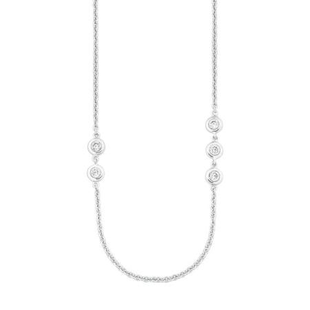s.Oliver Rundankerkette 2024227  in Silber mit Zirkoniasteinen Länge 75cm
