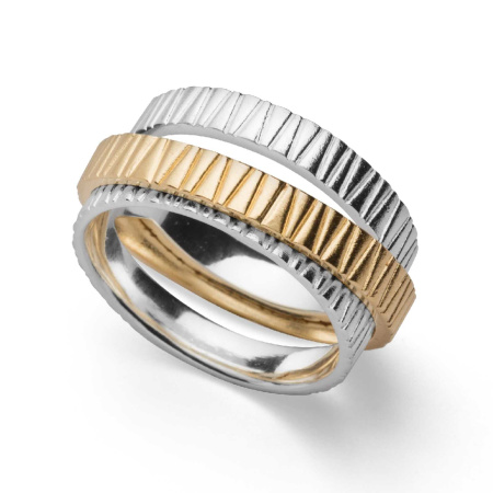 bastian inverun Ring 25740 aus 925-Silber - teilvergoldet - Weite 58