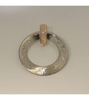 Mokume-Gane Damast Anhänger aus 925-Silber & 500-Palladium mit 585 Rotgoldöse