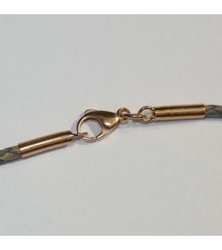 Halsreif Leder geflochten beige grau Karabiner rosé-vergoldet 45 cm