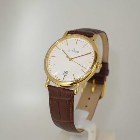 Grovana Uhren 1229.1513  Herrenuhr Damenuhr vergoldet 38mm Saphirglas