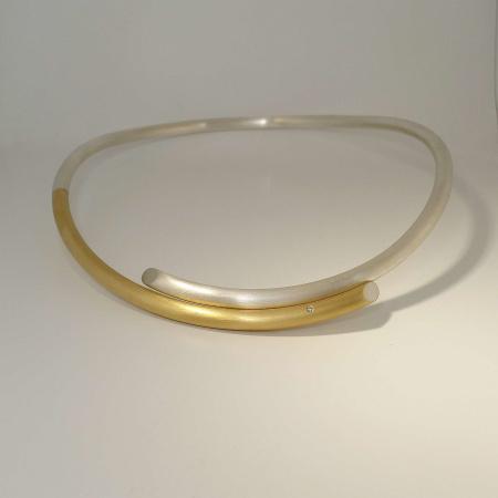 Siegfried Becker Halsreif 925 Silber und 750 Gold mit Brillant 0,02 ct w-vs