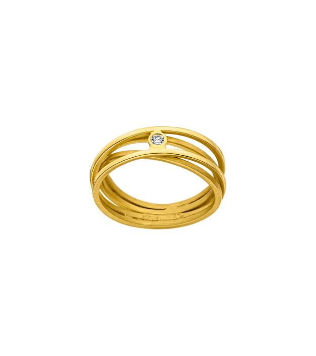 Tezer Damenring aus 585 Gelbgold mit Diamant Tw-vs 0,02 ct