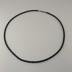 monomania Leder-Halsreif 3 mm schwarz 50 cm Bajonet Edelstahl