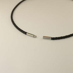 monomania Leder-Halsreif 3mm schwarz 45cm Bajonet Edelstahl