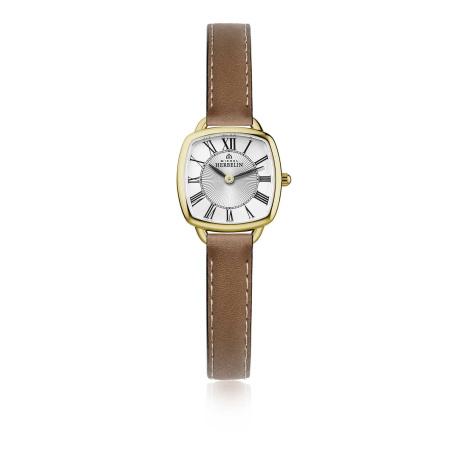 Michel Herbelin Equinoxe Damenuhr 17499-P08GO stahl gold-plattiert mit Saphirglas und Lederband