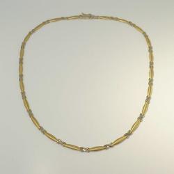 Zartes bicolor Collier X 585 Gold 44 cm - gebraucht -...