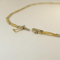 Zartes bicolor Collier X 585 Gold 44 cm - gebraucht - sehr gut
