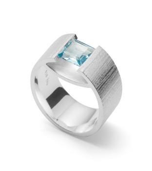 bastian inverun Damenring 35000 aus Silber 925 mit Blautopas