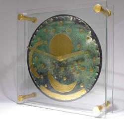 Himmelsscheibe von Nebra - Tischuhr - Stiluhr - aus Glas