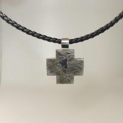 Anhänger Moto-Race-Kreuz 925 Silber geschwärzt - mit Leder-Halsreif 50 cm
