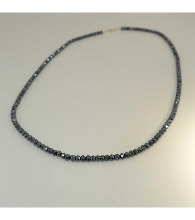 Edelsteinkette Spinell schwarz Ø 3,6 mm facettiert 45 cm lang