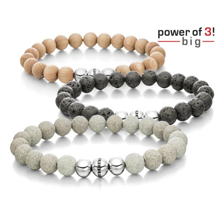 Set: 3 Armbänder - Power of 3! - big - Ahorn - Lava - Beton; Größe M = 18 cm