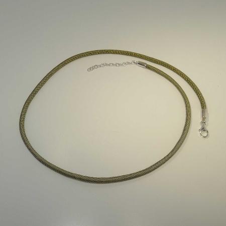 Seidencollier olivgrün 45 + 5 cm Verlängerung + Silber-Karabiner